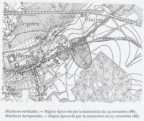 Carte des tremblements de terre d'Havré du 19 novembre 1887 et du 27 novembre 1887