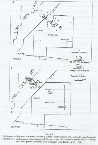 "Figure n° 2: ""Carte de l'activité sismique à proximité du puits d'injection d'eau du Rocky Mountain Arsenal, Colorado en 1967 (Source: NICHOLSON C. et WESSON R.L., ""Triggered Earthquakes and Deep Well Activities"", in ""PAGEOPH"", vol. 139, n° 3-4, 1992, p. 568)."